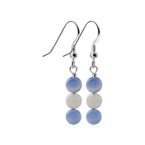 Blue and White Cat Eye Beads Drop 925 Silver Earrings