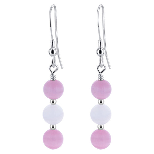 Pink and White Cat Eye Beads Drop 925 Silver Earrings
