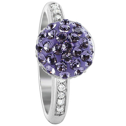 925 Silver Ball Studded with Tanzanite and Clear Stone Ring