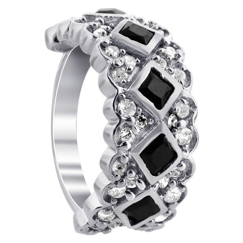 925 Silver Black and Clear Cubic Zirconia Ring