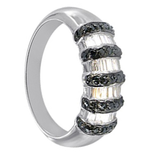 Sterling Silver Black and Clear Cubic Zirconia Ring