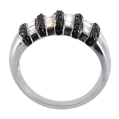 925 Silver Black and Clear Cubic Zirconia Ring # CSRS005