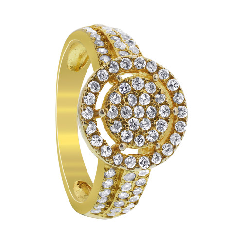 Gold Over 925 Sterling Silver Round CZ Ring
