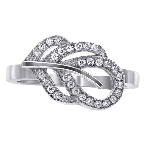 925 Sterling Silver Round Clear Cubic Zirconia Designer Leaf Ring