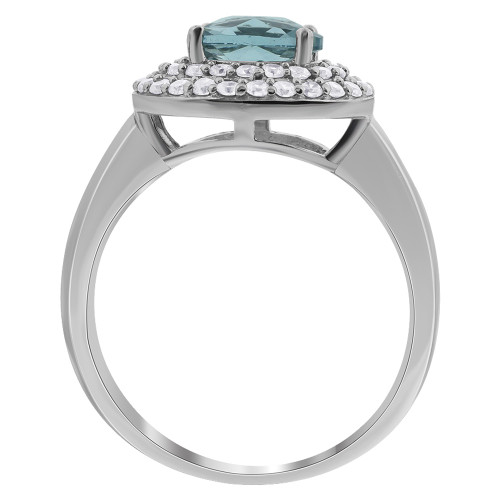 925 Sterling Silver Clear & Aqua Color CZ  with Accents Ring