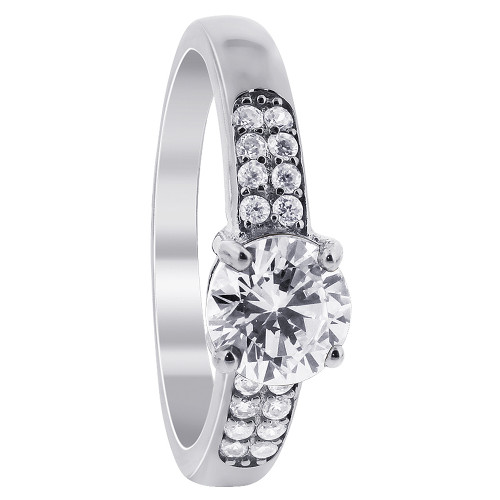 925 Silver Clear Cubic Zirconia Solitaire with Accents Ring