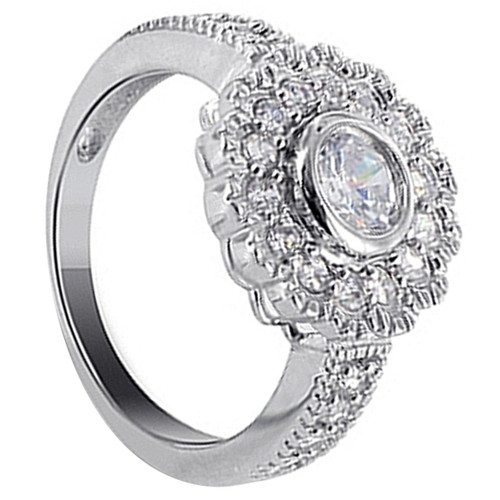 925 Silver Round Clear Cubic Zirconia with Accents Ring