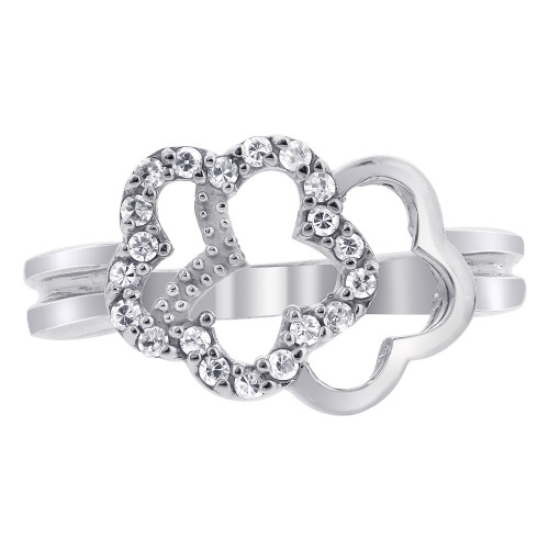 925 Sterling Silver Clear Cubic Zirconia Floral Design Ring