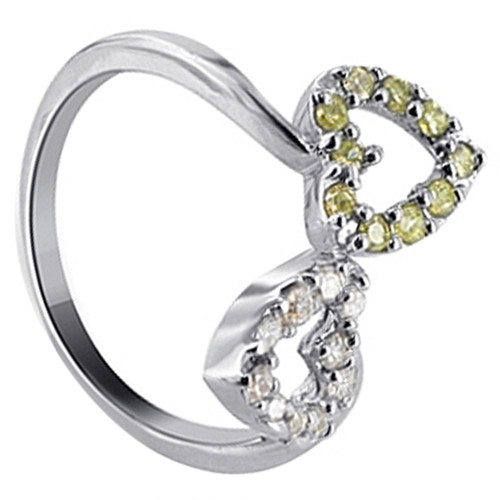 925 Silver Clear and Yellow CZ Open Heart Ring