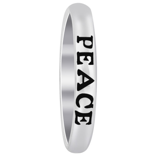 925 Sterling Silver Peace Engraved 6mm Band