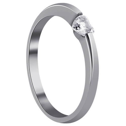 925 Sterling Silver Heart Shape Clear Cubic Zirconia Ring
