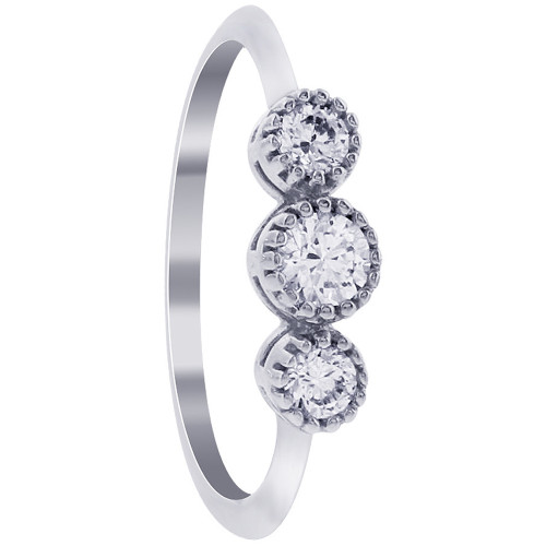 925 Silver Round Clear Cubic Zirconia Three Stone Ring