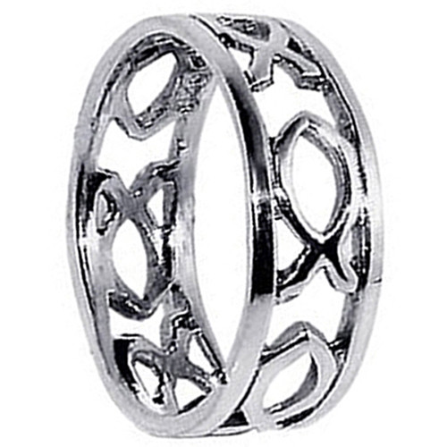 925 Silver Polished Finish Fish hollow cut outs Band