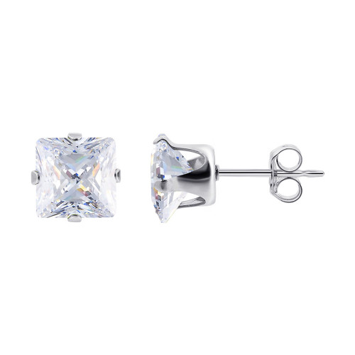 April Birthstone CZ 925 Silver 8mm Square Stud Earrings