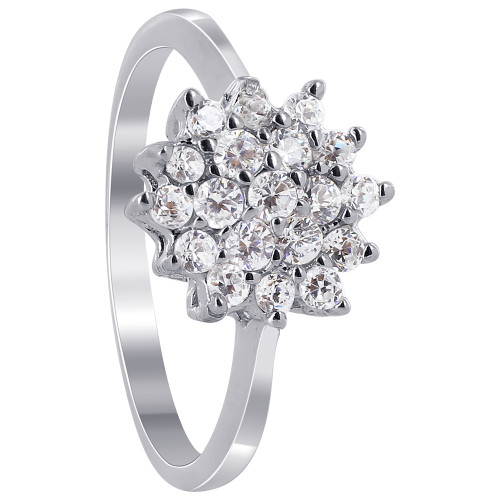 925 Silver CZ Pave Set with Flower Design Ring