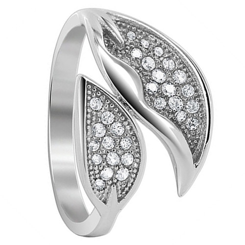 925 Silver 1mm Round CZ Two Studded Leaves Ring