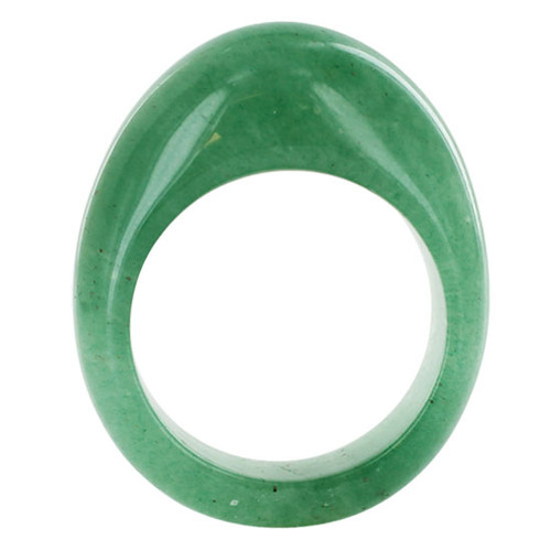 14mm Green Gemstone Unisex Ring Size 7 to 10.5  #KJR029