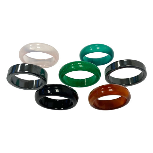 Onyx Hematite Green and Pink Agate Carnalian Unisex Band Set with Assorted Sizes from 6 To 9.5