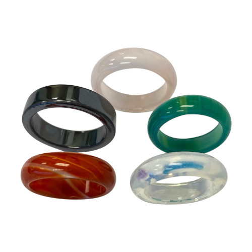 Green and Pink Agate Onyx Carnalian Opalite Unisex Band Set Assorted Ring Sizes 6.5 to 8.5 Set of 5