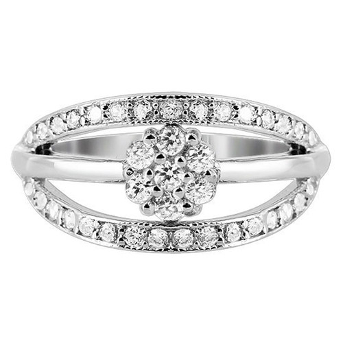 925 Silver 9mm wide band with Flower Design Ring