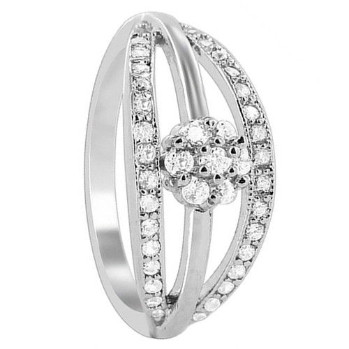 925 Silver 9mm wide band with Clear CZ Flower Design Ring