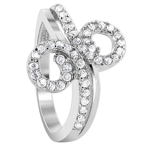 925 Silver Clear CZ Round Double Studded loop Design Ring