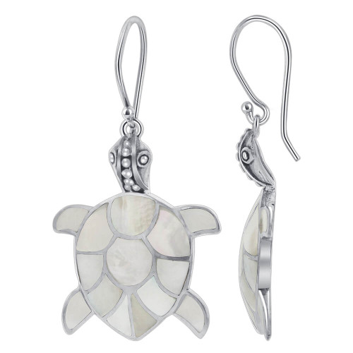 Mother of Pearl Turtle Drop Earrings