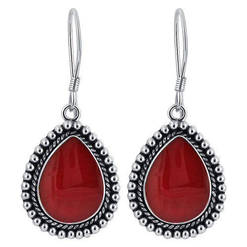 Coral Gemstone Drop Earrings