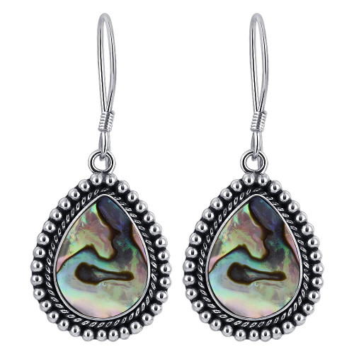 Pear Shape Abalone Braided Design 925 Sterling Silver Drop Earrings