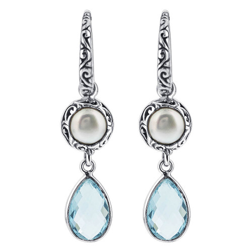 Blue Topaz and Freshwater Pearl Drop Earrings