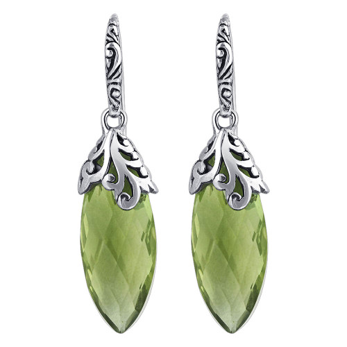 Marquise Shape Simulated Green Amethyst February Birthstone 925 Sterling Silver Drop Earrings