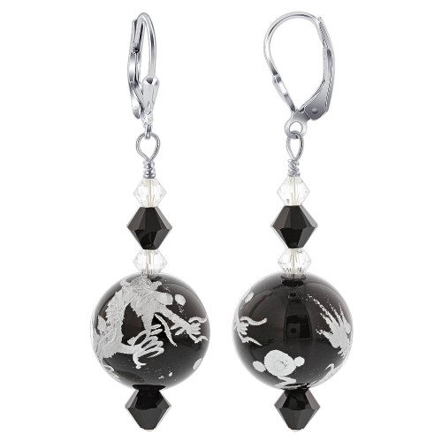 Swarovski Elements 15mm Black Glass Bead with Dragon Drop 925 Sterling Silver Earrings