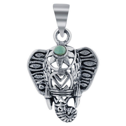 925 Silver Simulated Turquoise Tusker Elephant Pendant