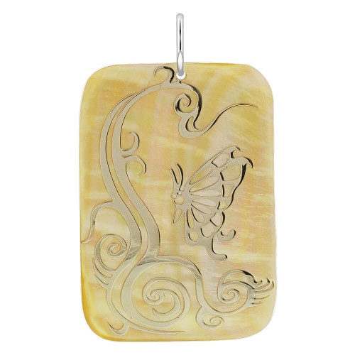 Engraved Gold Tone Mother of Pearl Charm Pendant #GP069