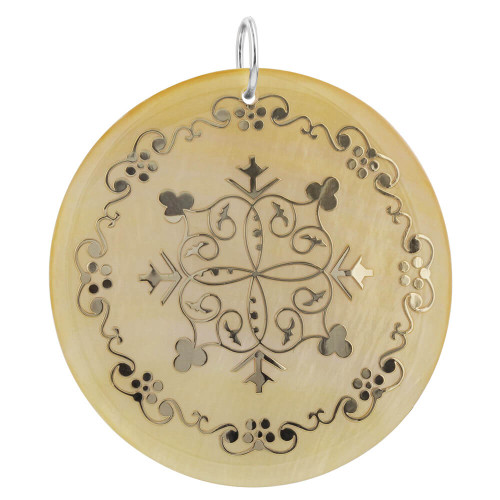 Engraved Gold Tone Mother of Pearl Charm Pendant