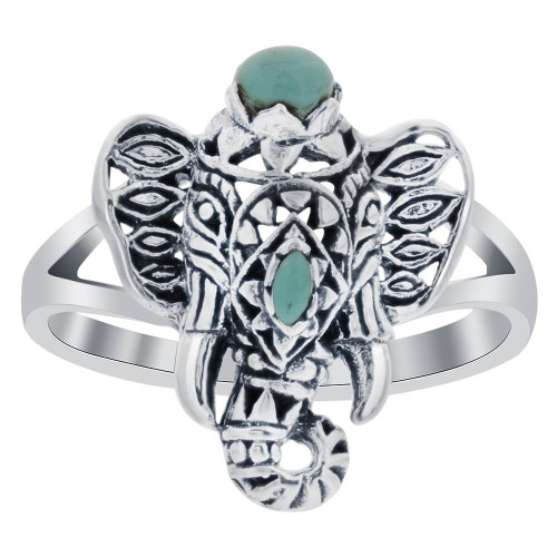 Simulated Turquoise 925 Silver Elephant with Tusk Ring