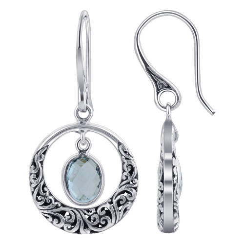 Blue Topaz Gemstone Earrings