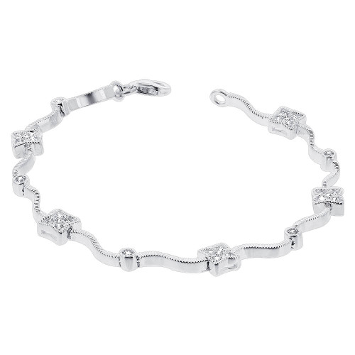 925 Silver Cubic Zirconia Tennis 7 inch Bracelet with Lobster Clasp