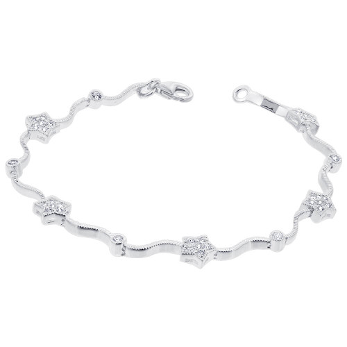 925 Silver CZ Star Tennis 7 inch Bracelet with Lobster Clasp