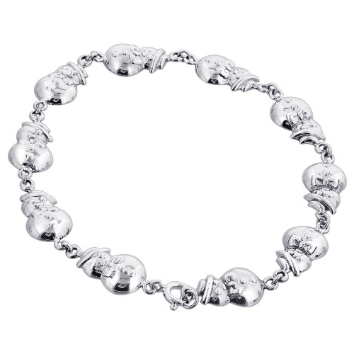 925 Silver 10mm Snowman Bracelet with Spring Ring Clasp