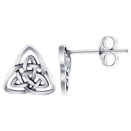 925 Silver Triquetra 10mm Celtic Knot Post Back Stud Earrings