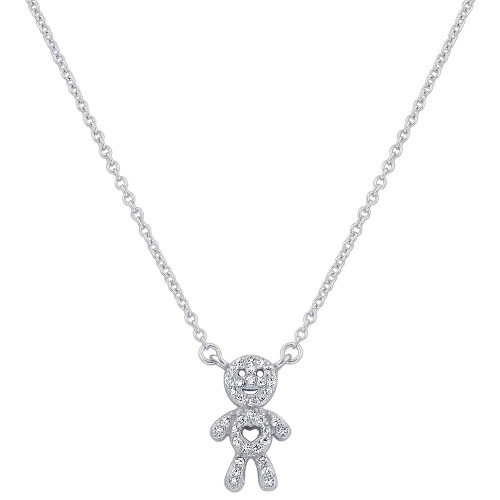925 Silver CZ Boy Pendant with Rolo Chain Necklace