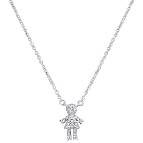 925 Silver Clear CZ Girl Pendant with Rolo Chain Necklace