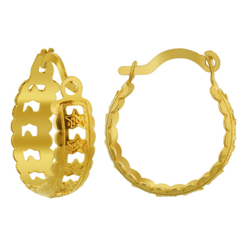 Gold Layered Star Design Hoop Earrings (16mm Diameter)