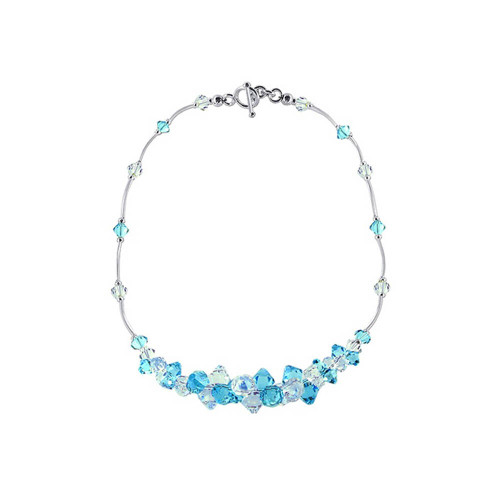 Swarovski Elements Clear and Light Blue Crystal Toggle Clasp Sterling Silver Necklace