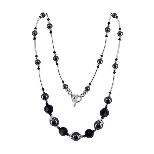 Silver Pearl & Crystal Necklace with Swarovski Elements
