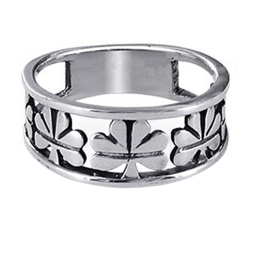 925 Sterling Silver Clover Leaf Band