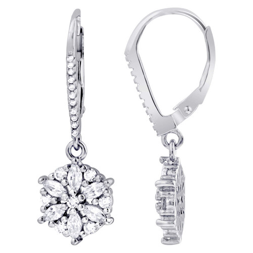 Cubic Zirconia Flower Sterling Silver Lever Back Drop Earrings