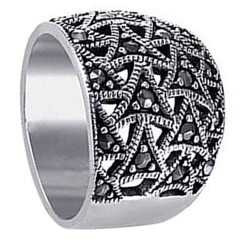 925 Silver Marcasite Filigree Flying Triangle Ring