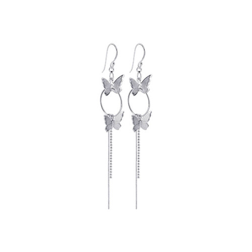 925 Silver Butterfly Hoop French Hook Dangle Earrings